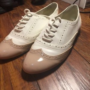 tan and white oxfords